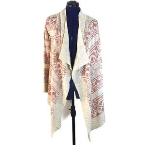 Hippie Rose Beige and Pink Tribal Pattern Cardigan